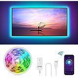 Gosund Tira Led Wifi USB para TV Sincronizar con Música, Control por Voz/Remoto para Ajustar Múlticolores y Brillo…