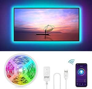 Gosund Tira Led Wifi USB para TV Sincronizar con Música, Control por Voz/Remoto para Ajustar Múlticolores y Brillo, Luces LED RGB Inteligente con 8 Modo Escena, IP65-Impermeable, Anti-UV