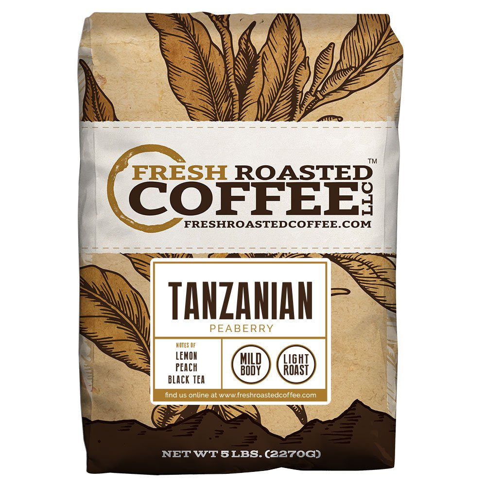Tanzanian Peaberry Coffee, Whole Bean Bag, Fresh Roasted Coffee LLC. (5 LB.) by FRESH ROASTED COFFEE LLC FRESHROASTEDCOFFEE.COM