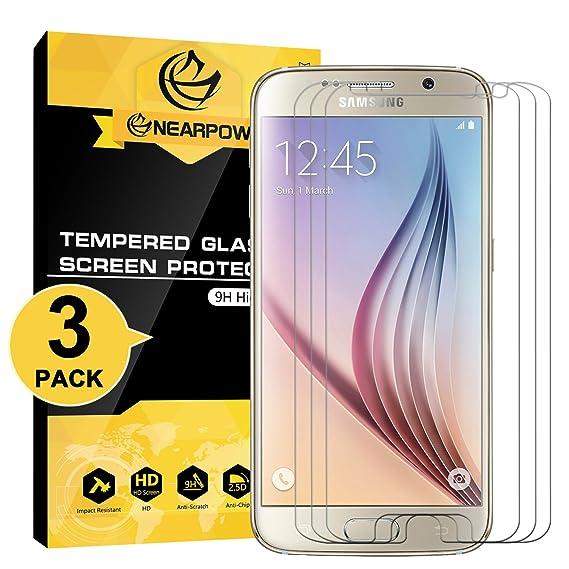 NEARPOW [3 Pack] Protector de Pantalla para Samsung Galaxy S6 Cristal Vidrio Templado [9H Dureza] [Alta Definicion] [Sin Burbu]: Amazon.es: Electrónica