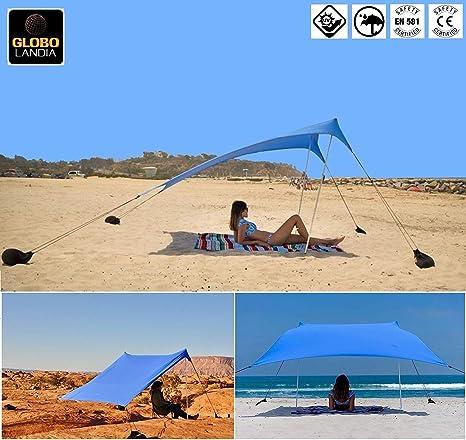c6a79f405426 GLOBOLANDIA SRL 95117 - Tenda da Spiaggia con Tettuccio Parasole 2X2m  Portatile Ombrellone Vela Parasole Anti