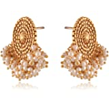 Sinjara Fashion Jewellery Gold Plated Pearl Beads Stud Earrings For Women (13e)