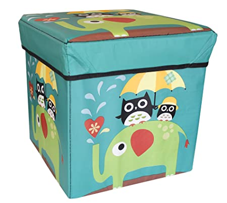 TIED RIBBONS Kids Room Toy Storage Box Stool for Kids Under Lid Padded Seat (30 cm X 28.5 cm X 28.5 cm, Multicolor)