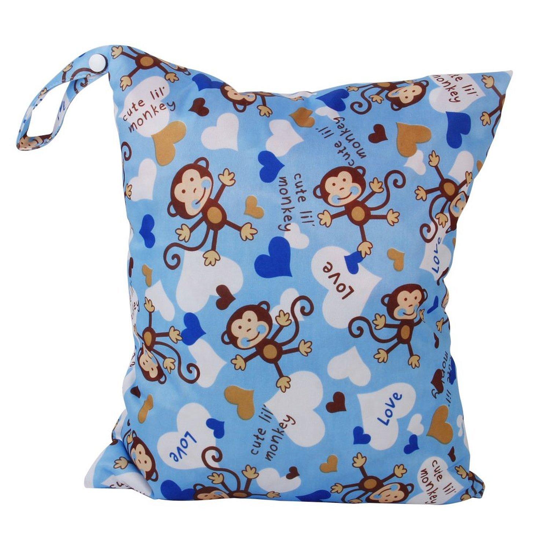 Kentop Sac à couches lavables étanche double zippé Sac à Couches Lavables pour Bébé Réutilisable Etanche avec Motifs des singe Animaux 1PCS 30*36 CM (Rose)