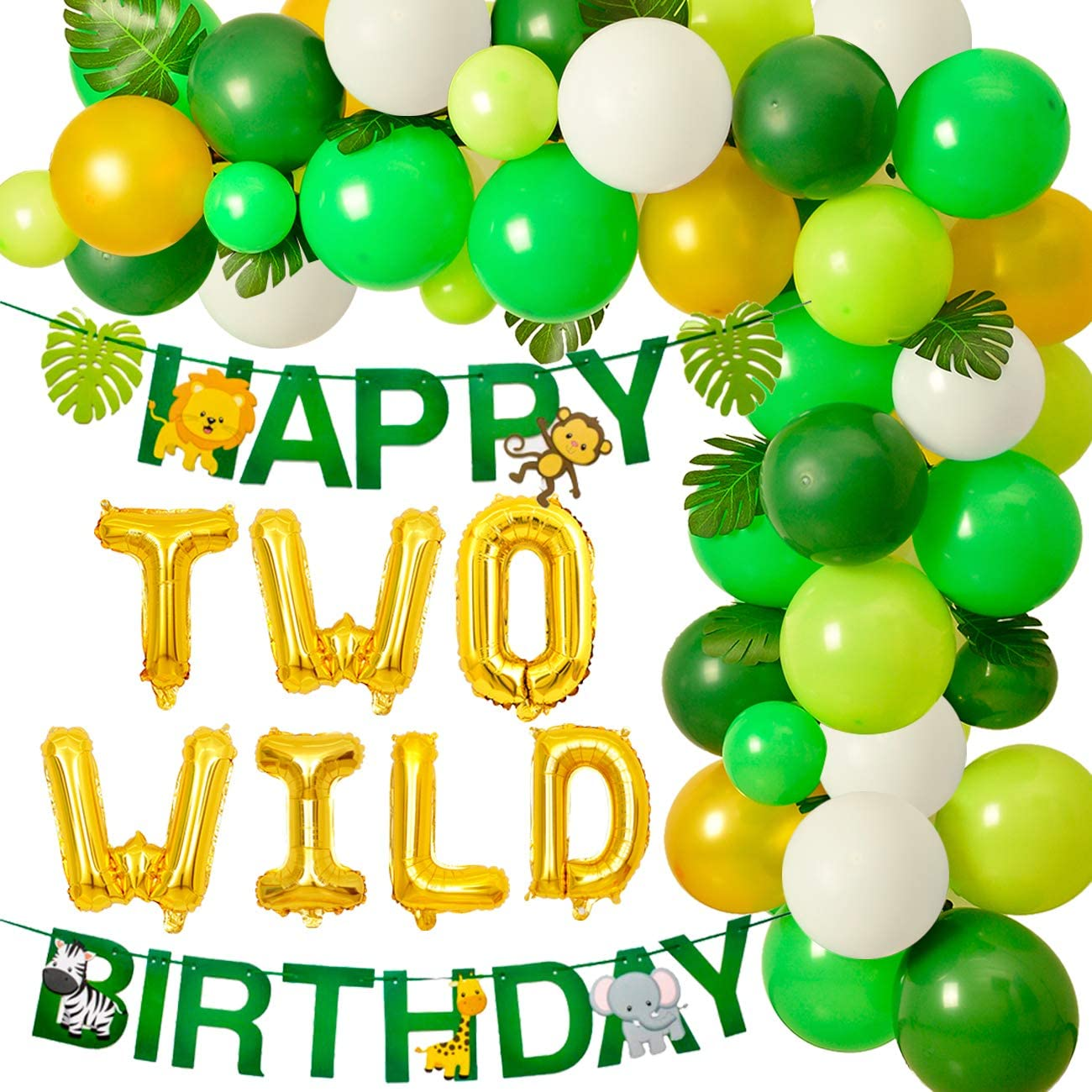 In Two The Wild Script Banner  Gold Glitter Cursive Second Birthday Sign  Wilderness Forest Theme Decor  Boy/'s Party  2nd Safari Jungle
