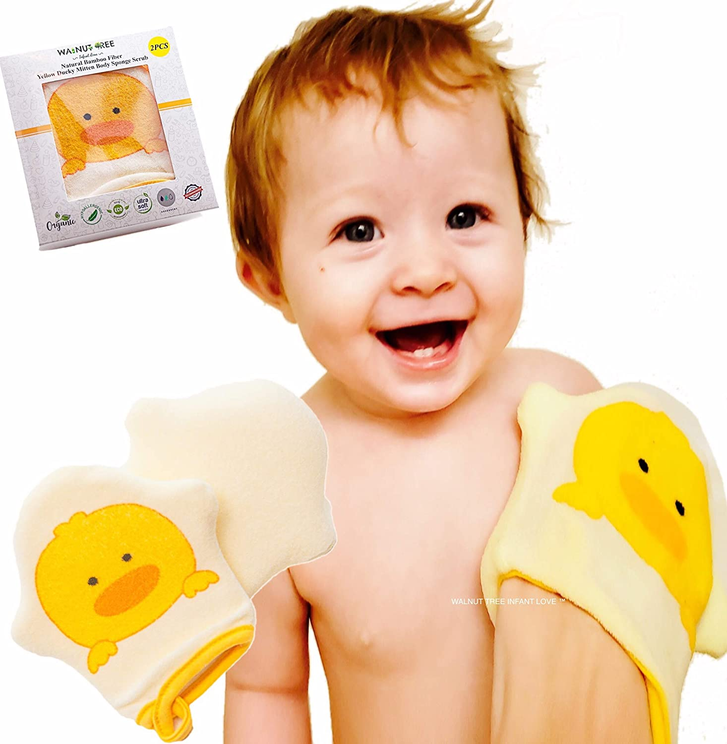 Pack of 5 Baby Bath Sponges Set Newborn Toddler Bathtime Soft Gentle White