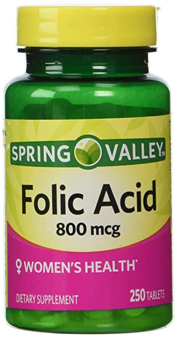 Spring Valley - Folic Acid 800 mcg, 250 Tablets