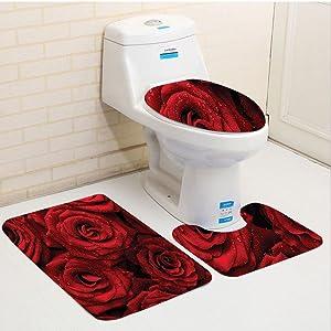 Keshia Dwete three-piece toilet seat pad customRed and Black Romantic Eternal Symbol of Love Red Roses with Rain Drops on Petals Photo Print Ruby