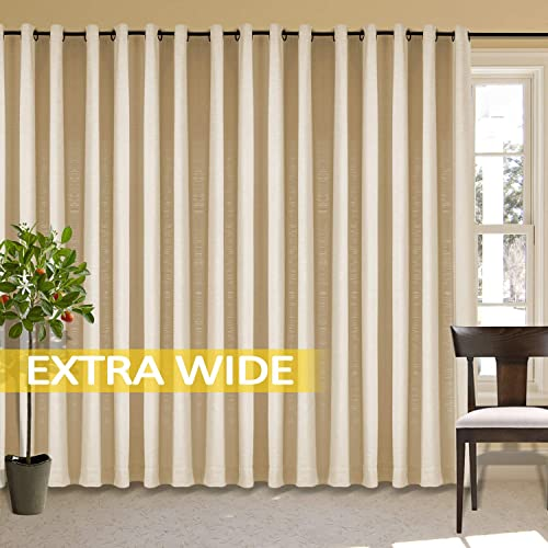 cololeaf Extra Wide and Long Curains Linen Drapes for Bedroom Linen Textured Room Darkening Drapes Living Room Curtain, Gardenia 150W x 96L Inch 1 Panel