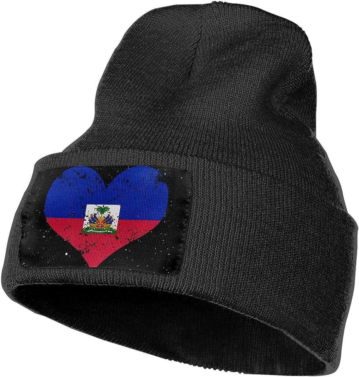 Haiti Heart Flag Ski Cap Men Women Knit Hats Stretchy /& Soft Beanie