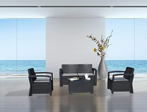 Kozyard New York 4 Piece Conversation Set All Weather Outdoor Patio Garden Furniture w/Cushion