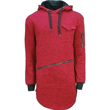 c35829edcd14 Soul Star Mens Hoody Designer Longline Kangaroo Zip Pocket Hoodie Sweatshirt  (Red, M): Amazon.co.uk: Clothing