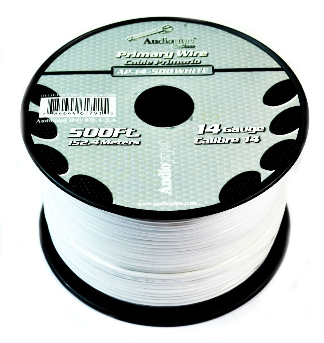 Audiopipe White 500' Feet 14 Gauge AWG Car Audio Primary Power Cable Remote Wire