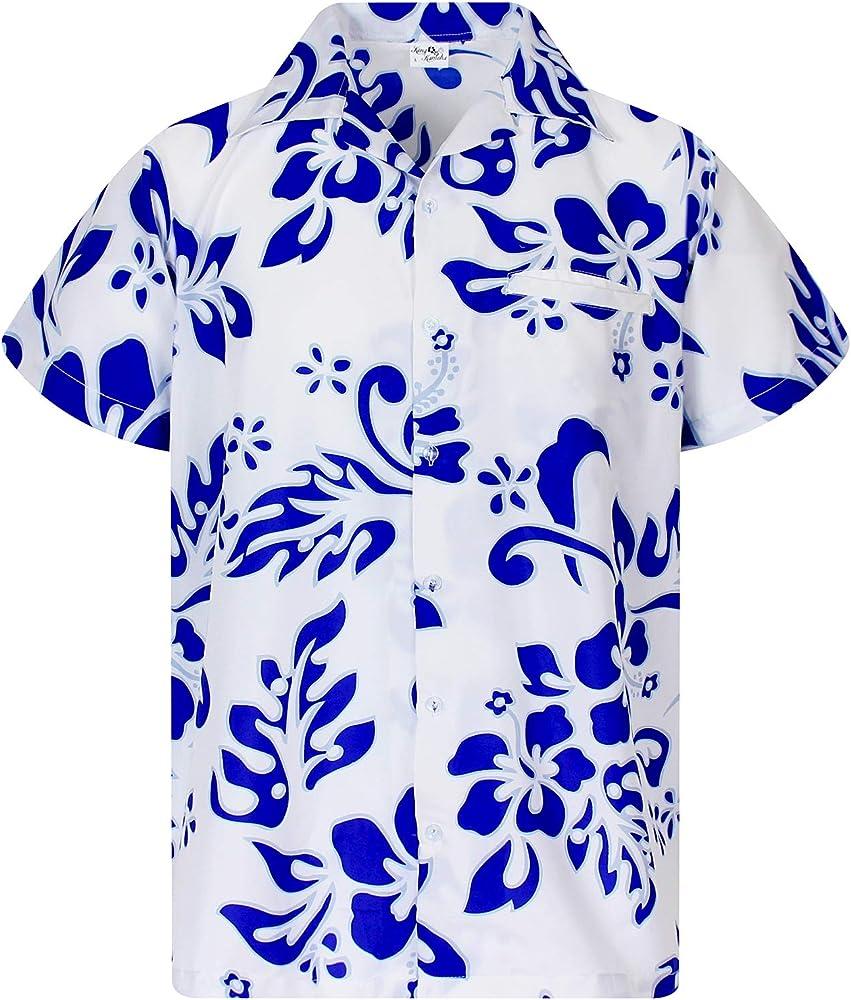 Funky Camisa Hawaiana, Manga Corta, Hibiscus, Indigo Blanco, XS: Amazon.es: Ropa y accesorios