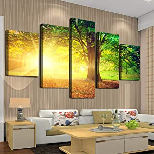 Cao Gen Decor Art-AH40139 5 panelsWall ArtCanvas Prints Sunset Trees Natural Forest Pictures Ready to hang for Home Decoration Yellow Artwork