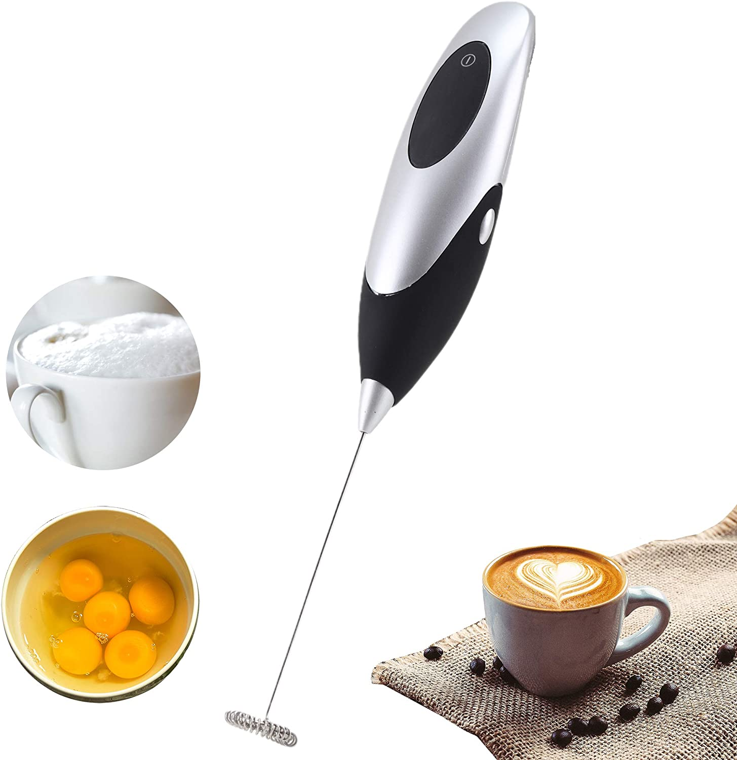 Mini Handheld Electric Blender, Electric Coffee Mixer, Milk Frother, Egg Beater, AA Battery Powered High-Speed Electric Blender (Black)