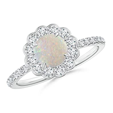 Angara Natural Opal Ring in White Gold - October Birthstone Ring gfKIHlC