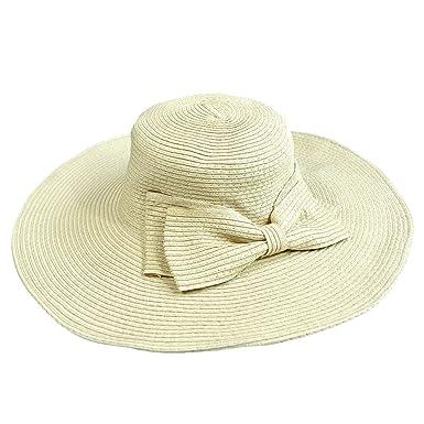 ff7686d69ddb74 Kuyou Damen Faltbare Sonnenhut Elegant Sommer Kappe Mütze Strohhut (Beige)
