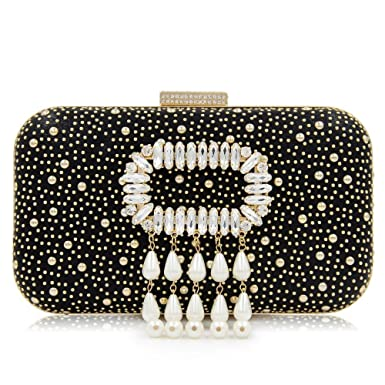 63b68c770b8 Image Unavailable. Image not available for. Color  Crystal Leather Clutches  Party Banquet Women Pearl Evening Purses Clutch Handbags Wedding