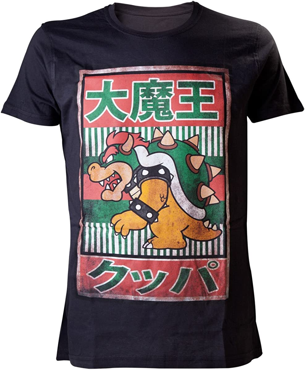 Amazon Com Nintendo Super Mario Bros Bowser With Kanji Text Mens T Shirt Black Large Video Games