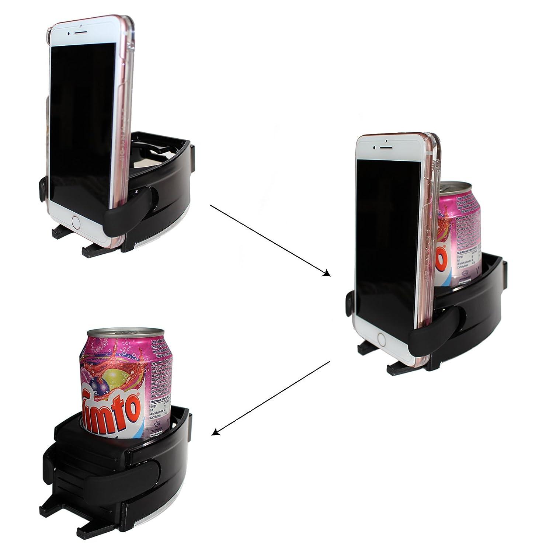 Amazon.es: Portavasos 2 en 1 Soporte Latas y Teléfono para Coche y Furgoneta por Kurtzy - Accesorios Coche Completamente Ajustable Negro - Se Coloca en la ...