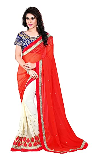 VJP Enterprise Women s Georgette Saree (Red and Off-White)  Amazon ... 230f135804
