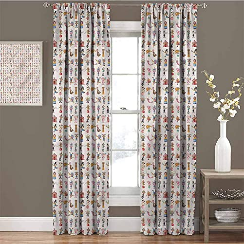 June Gissing Circus Black Out Drapes 72 inch Length, Lion Tamers Acrobats Perform Thermal Insulated Curtain 55 x 72