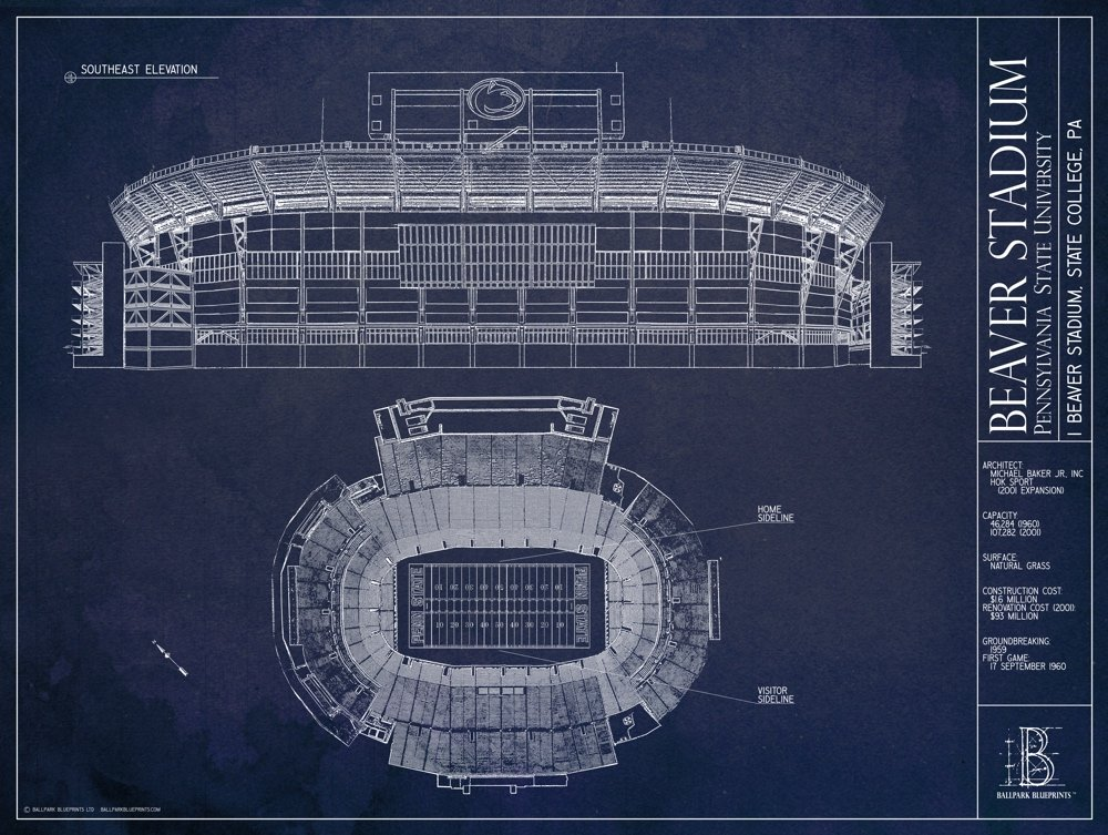 Amazon beaver stadium pennsylvania state university amazon beaver stadium pennsylvania state university blueprint style print unframed 18 x 24 sports outdoors malvernweather Gallery