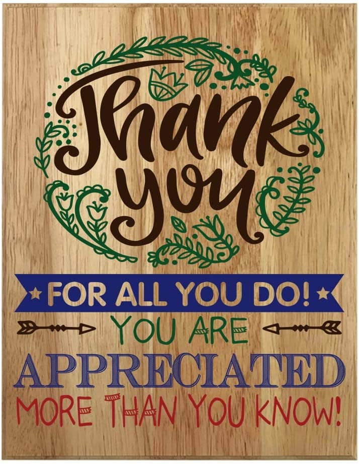 QUMO Thank You Gifts for Women | Coworkers | Men | Friends | Christmas | Teachers | Employees | Thank Yous | Plaque | Wall Art | Wooden Sign