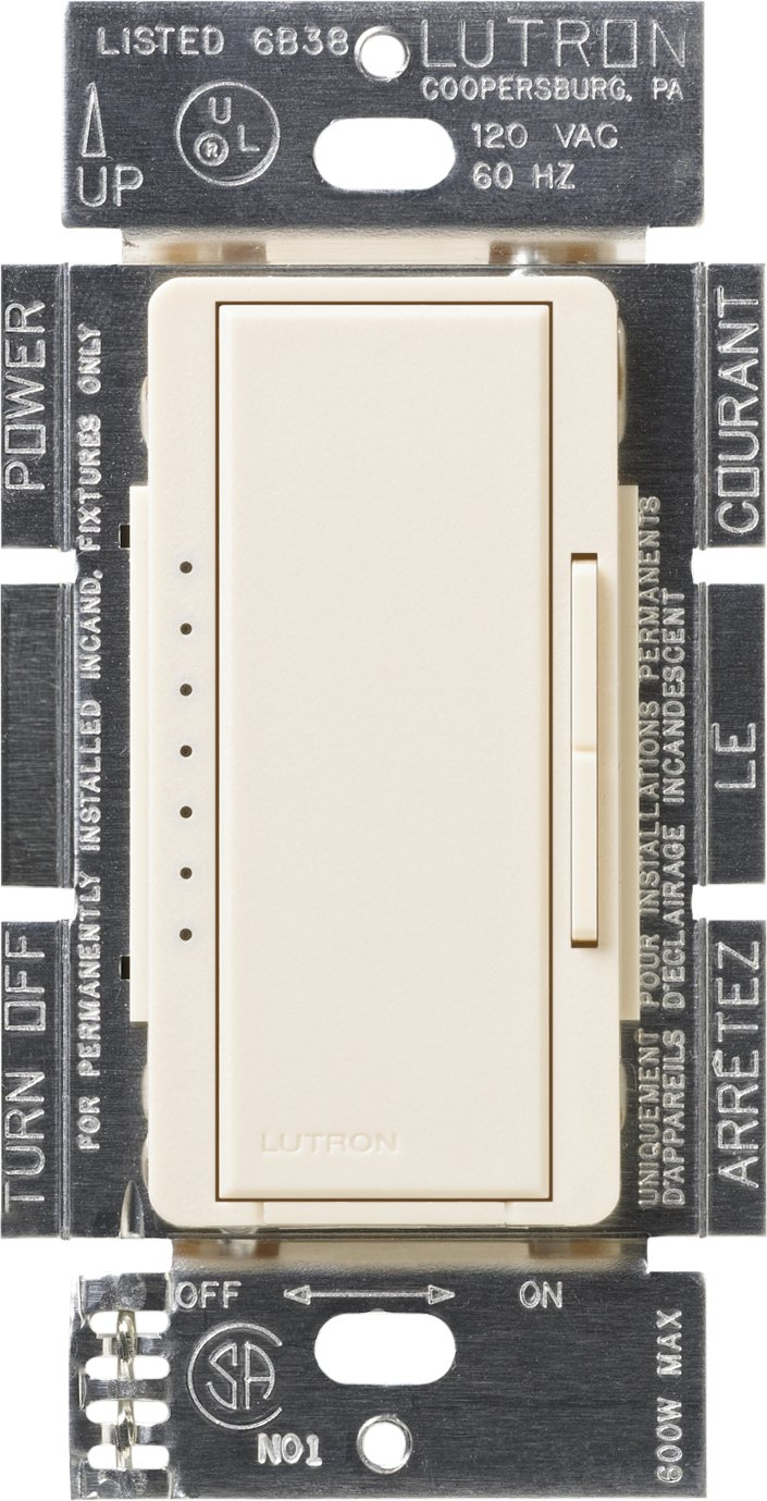 Lutron MSCELV-600M-ES Maestro 600-watt Electronic Low Voltage Multi-Location Digital Dimmer, Eggshell by Lutron