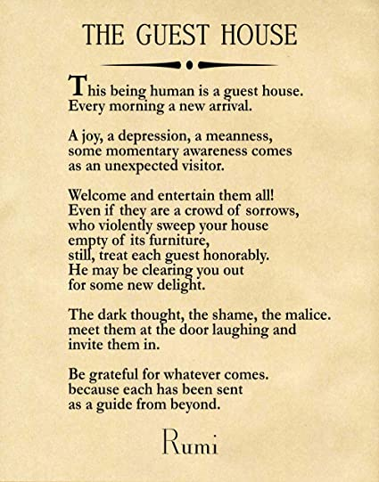 Amazon com: Rumi Quote The Guest House Poem by Rumi