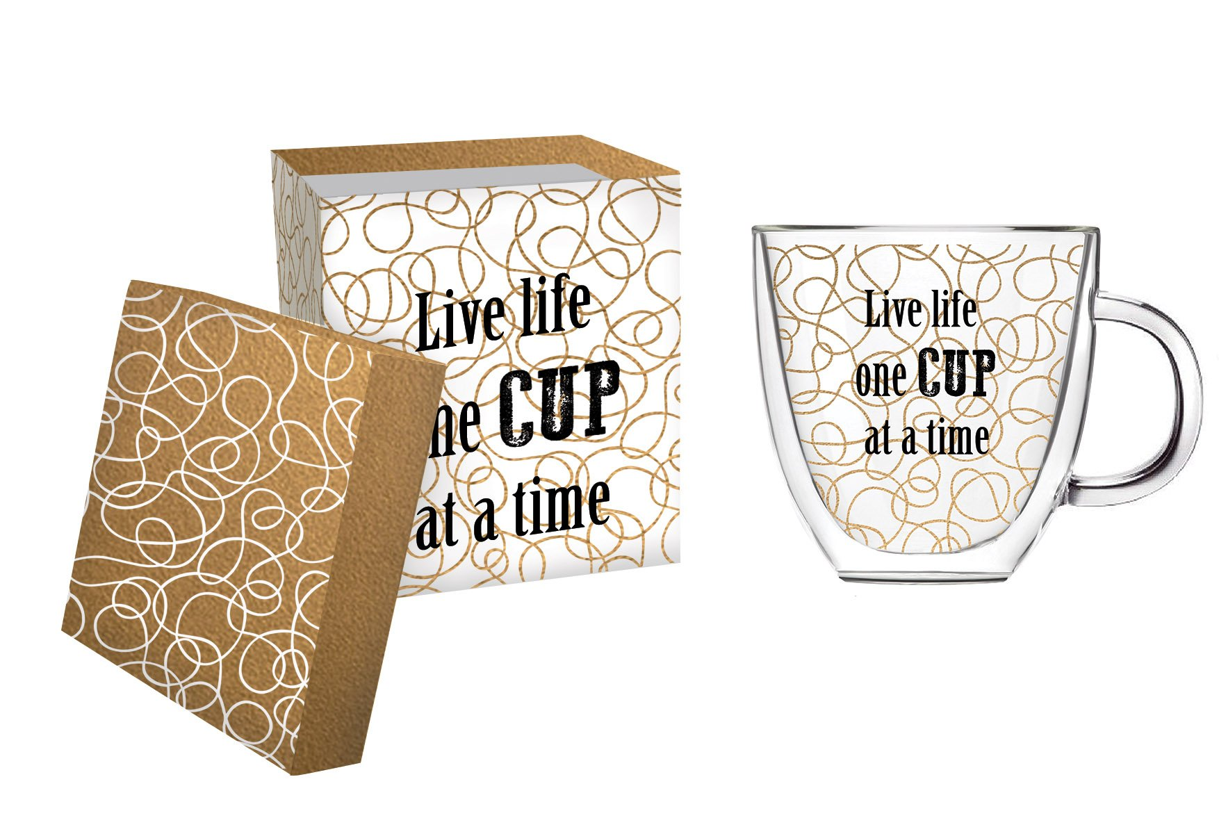 Cypress 3GCC004 Home One Cup at a Time Glass Coffee Cup, 12 oz