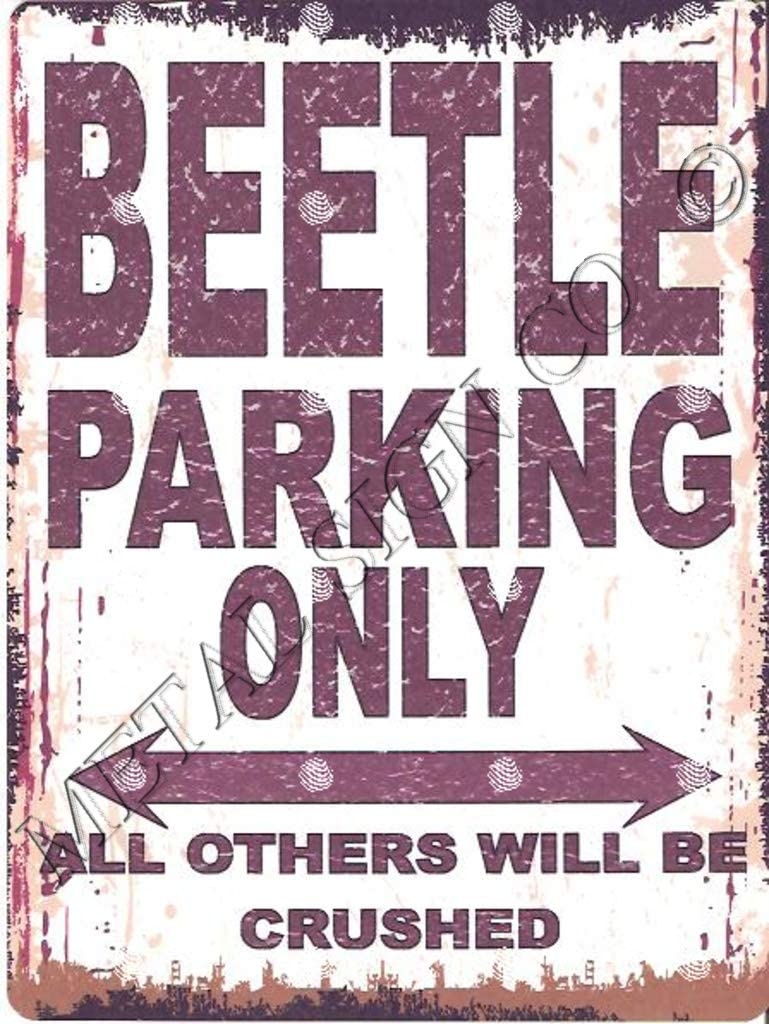 BEETLE PARKING SIGN SMALL 6x8in 15x20cm RETRO VINTAGE STYLE tin wall art shed workshop garage classic cars vw camper