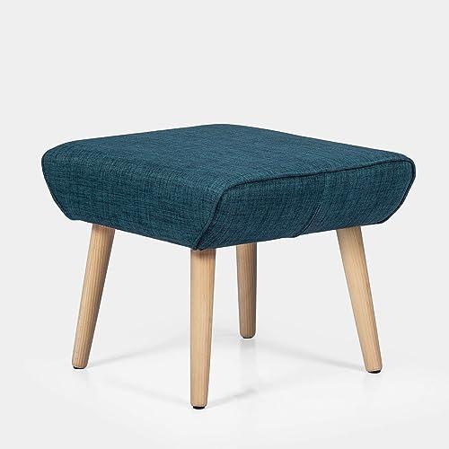 Joveco Ottoman Stool Small Footstool Fabric Footrest Bench Darkcyan