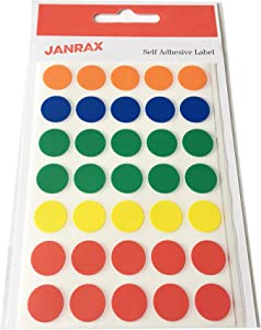 Pack of 140 Self Adhesive Assorted Colour 13mm Round Labels - Stickers