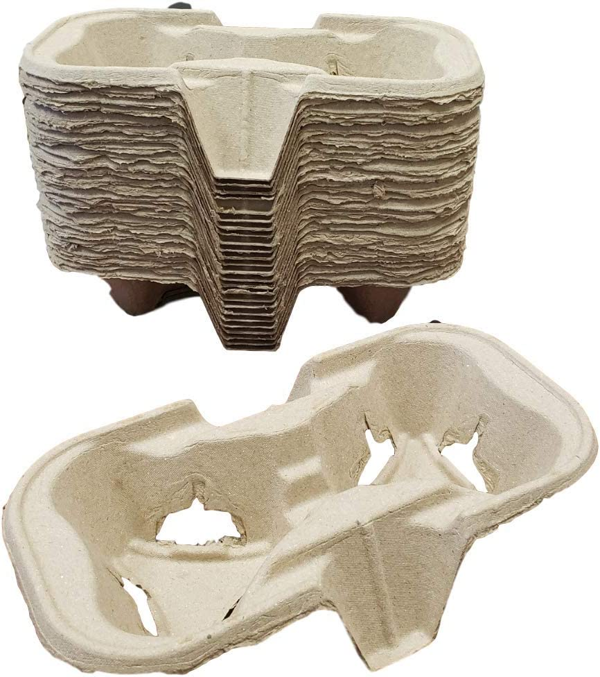 2 Cup Molded Fiber Drink Carrier for 8-24 oz Cups - Biodegradable and Great for All Your Beverage Needs by MT Products- (30 Pieces)