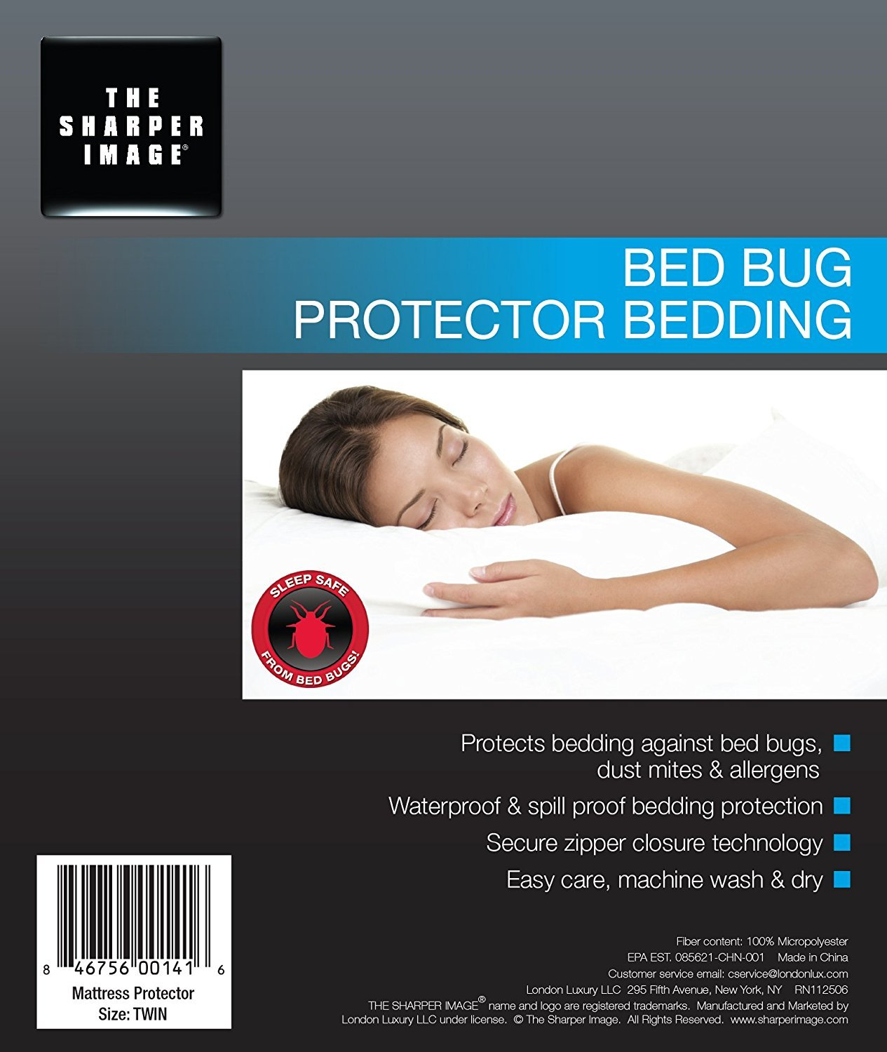 amazon com sharper image waterproof bed bug proof dust mite proof