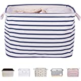 """DOKEHOM DKA0611BLS 15"""" Storage Basket (Available 15"""" and 18.5"""") Drawstring Square Cotton Linen Collapsible Toy Basket (Blue Strips, M)"""