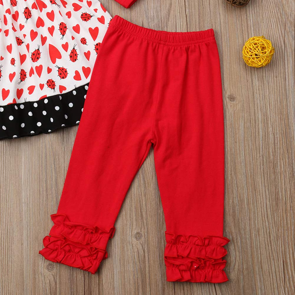 Toddler Kids Baby Girls Fall Outfits Ruffle Long Sleeve Tops Dress+Pants Leggings Set+Headbands Holiday Clothes