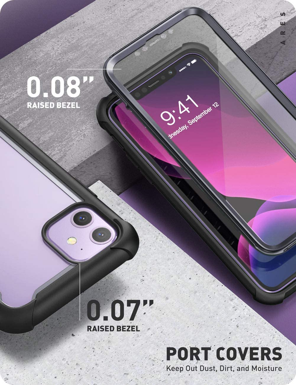 MetallicRed i-Blason Ares Case for iPhone 11 6.1 inch Dual Layer Rugged Clear Bumper Case with Built-in Screen Protector 2019 Release