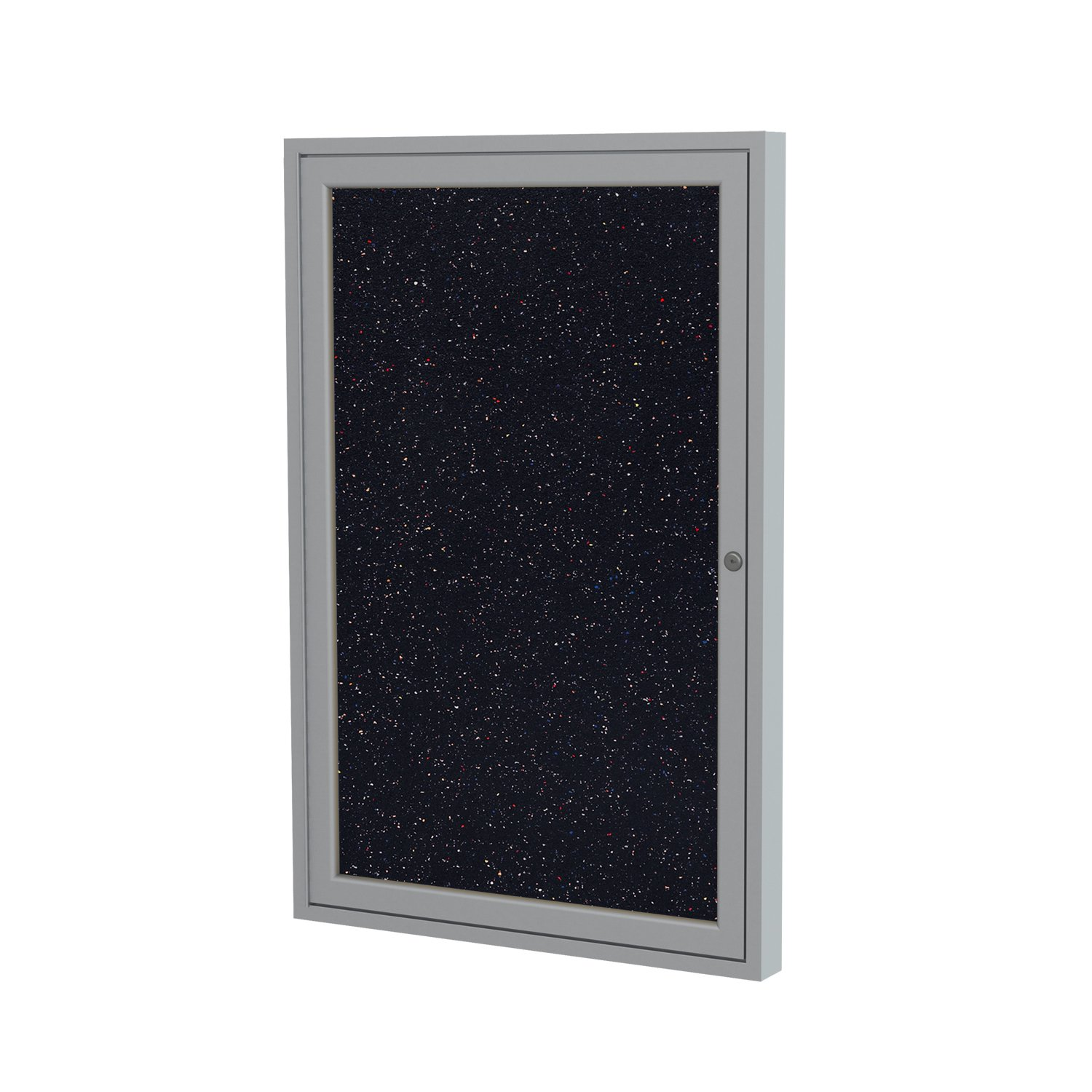 Ghent 36''x30'' 1-Door indoor Enclosed Recycled Rubber Bulletin Board, Shatter Resistant, with Lock, Satin Aluminum Frame,Confetti (PA13630TR-CF) ,Made in the USA