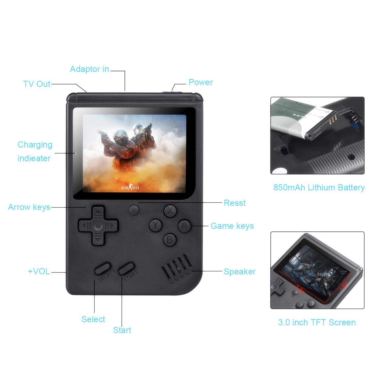 weikin Handheld Game Console, 168 Classic Games 3 Inch LCD Screen Portable Retro Video Game Console Support for Connecting TV and Two Players, Good Gifts for Kids and Adult. by weikin (Image #5)