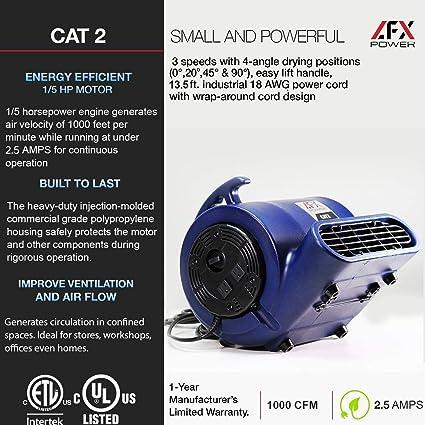 AFX POWER CAT 1 Air Mover Carpet Dryer 1//5 HP Air Blower Floor Fan