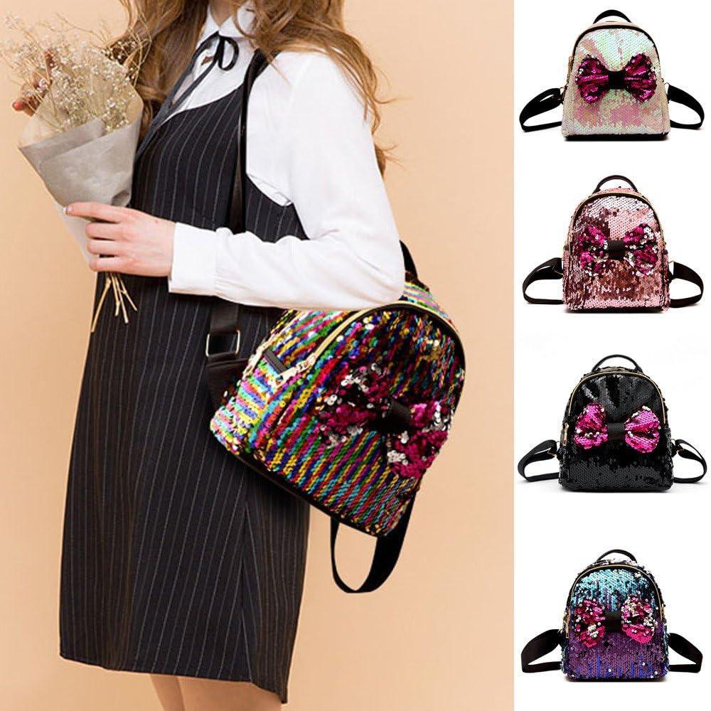 Fasclot Fashion Sequins Bow Tie School Bag Backpack Satchel Women Travel Shoulder Bag