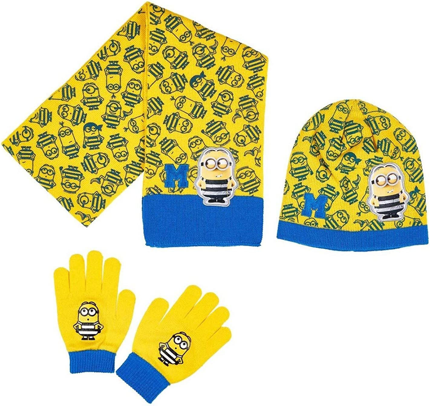 Hat and Gloves 3 to 9 Years Yellow//Blue Minions Boys Scarf