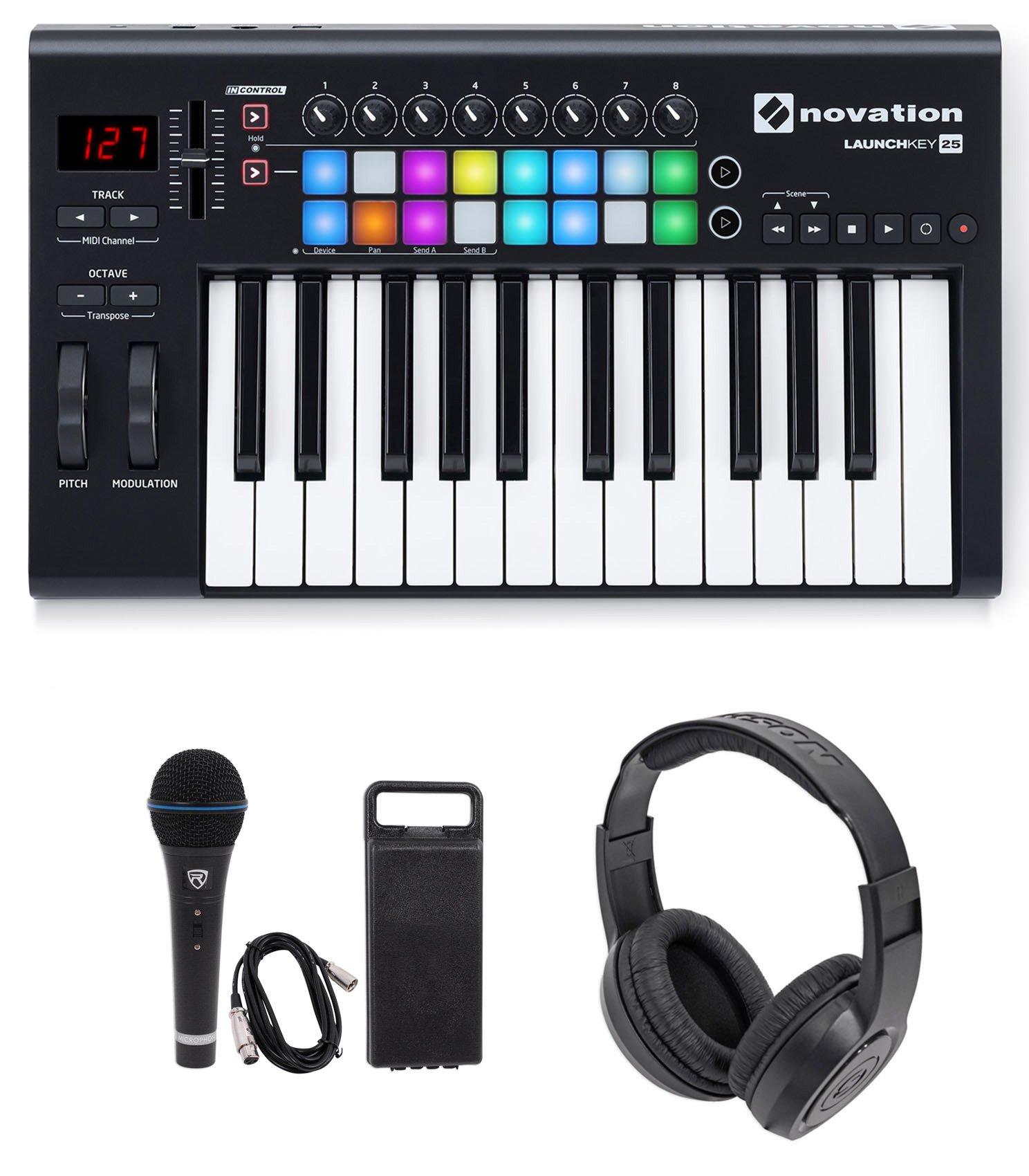 Novation LAUNCHKEY-25-MK2 USB MIDI Keyboard Controller + Mic + Headphones by Novation