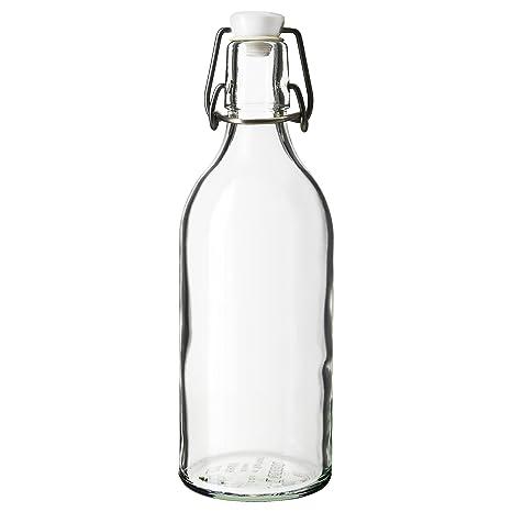 IKEA Korken - Botella con tapón de vidrio transparente