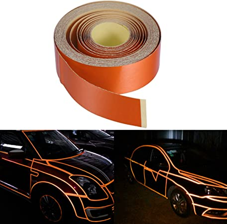 2 FOGLI UNIVERSALE fluorescente riflettente decalcomania auto CERCHIONI Nastro Adesivo