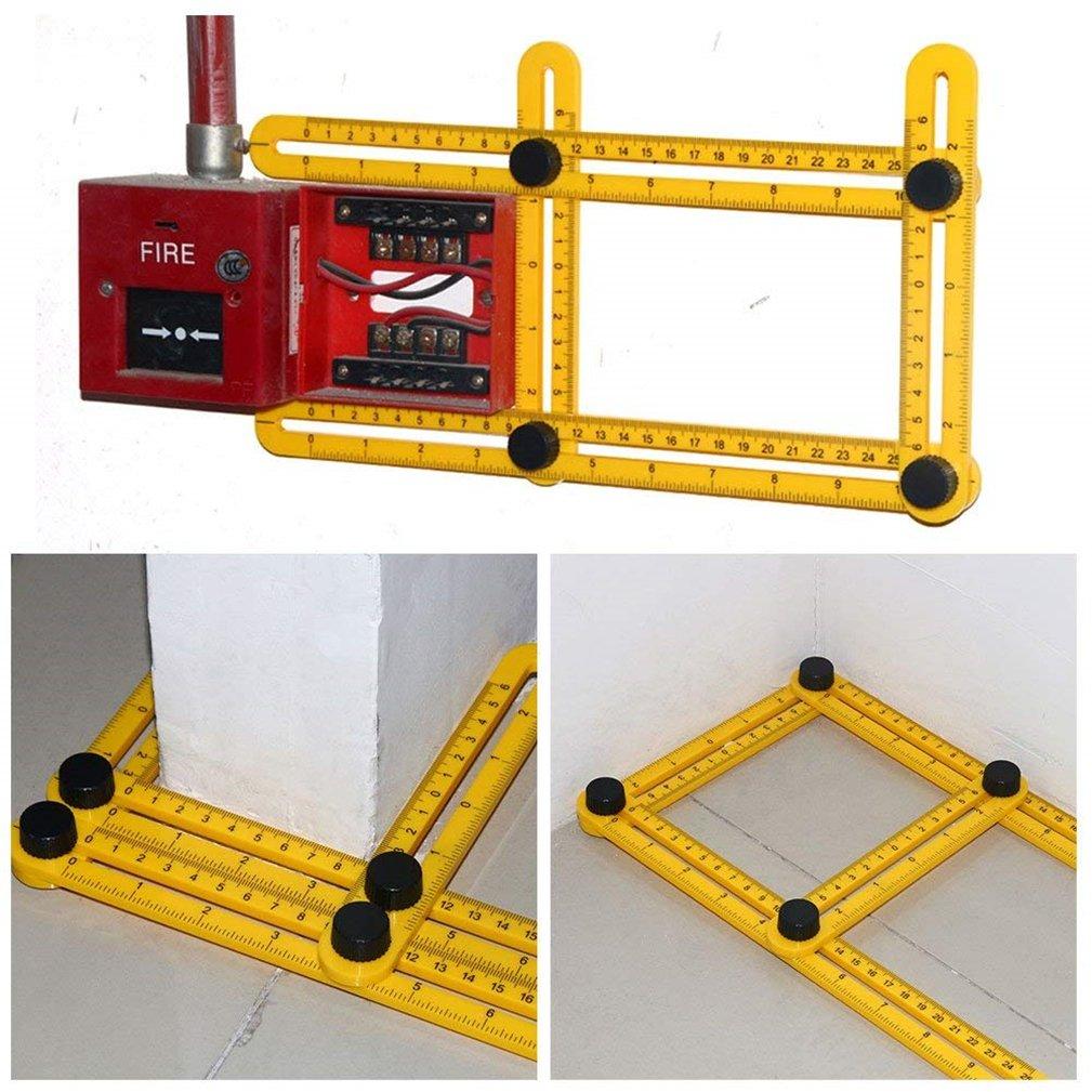 toiture menuiserie /avec sac de transport et Carpenter crayon projets de bricolage/ Quner Multi Angle de mesure R/ègle r/ègles de pliage pour quatre Face pour carrelage