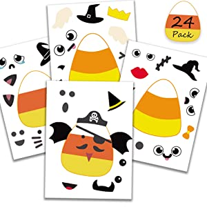 Happy Storm Halloween Party Games for Kids 24 Candy Corn Stickers Halloween Party Activities Make a Candy Corn Face Stickers Sheet DIY Party Favors for Halloween Candy Corn Decorations